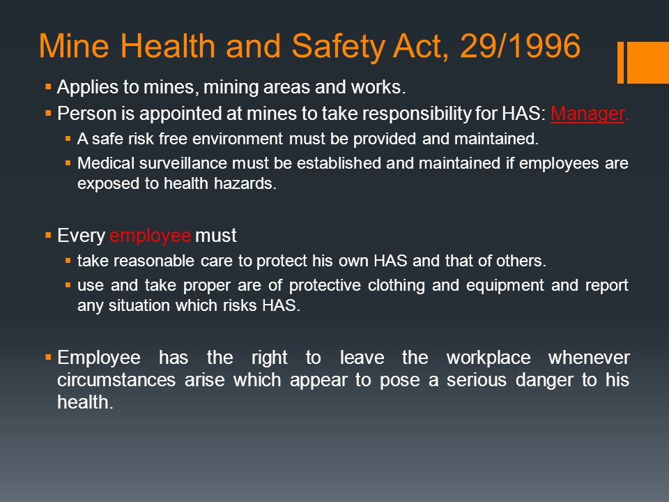 Mine Health and Safety Act, 29/1996