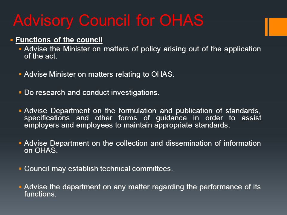 Advisory Council for OHAS