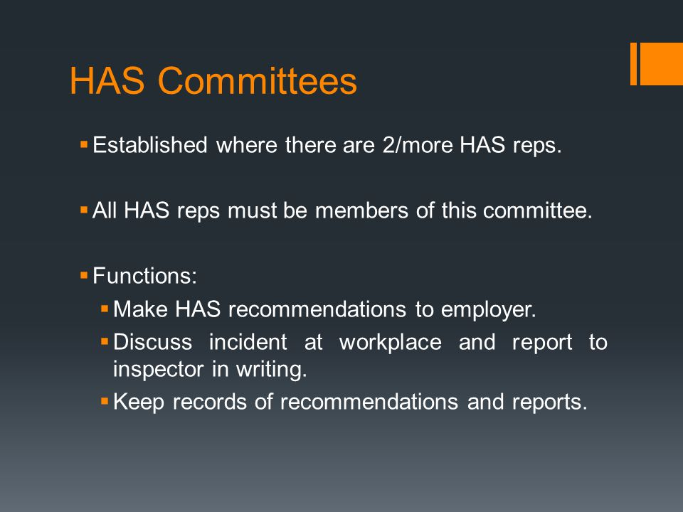 HAS Committees Established where there are 2/more HAS reps.