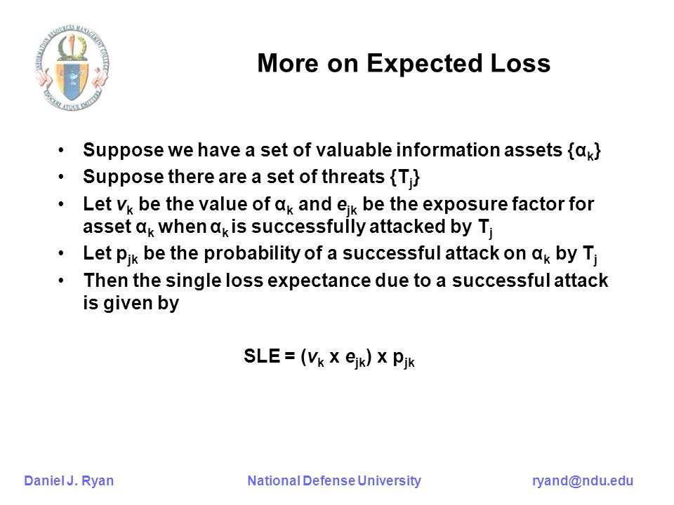 More on Expected Loss Suppose we have a set of valuable information assets {αk} Suppose there are a set of threats {Tj}