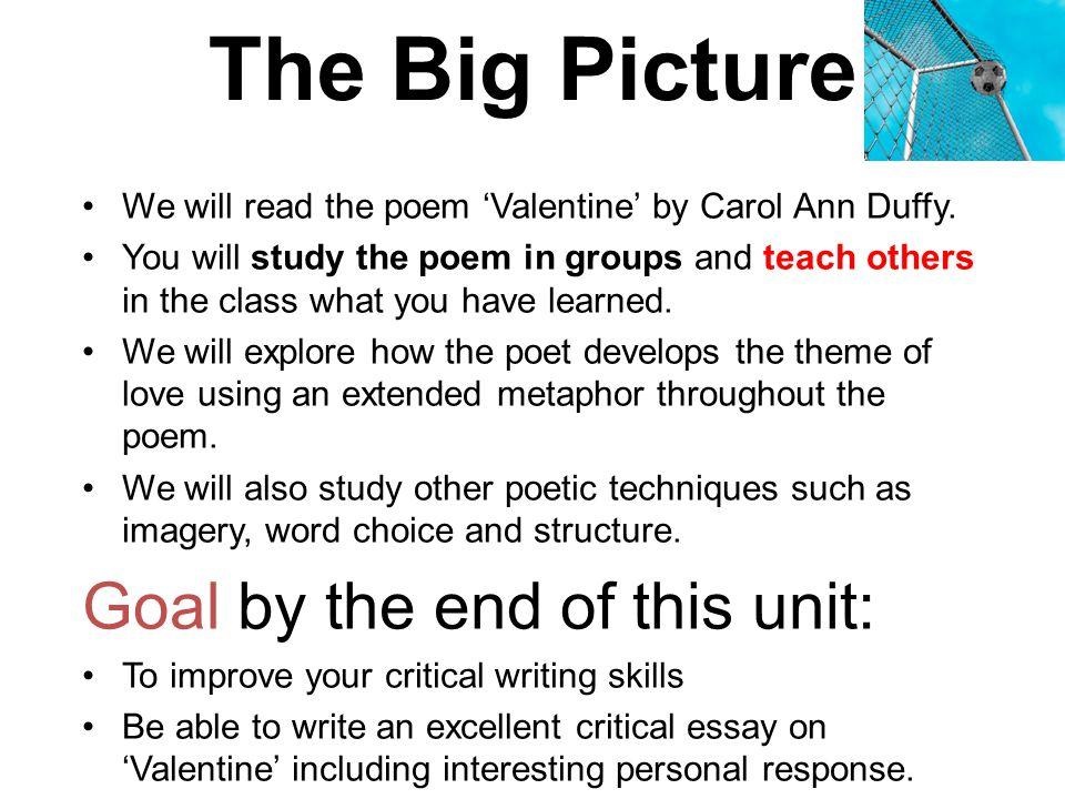 valentine carol ann duffy analysis powerpoint
