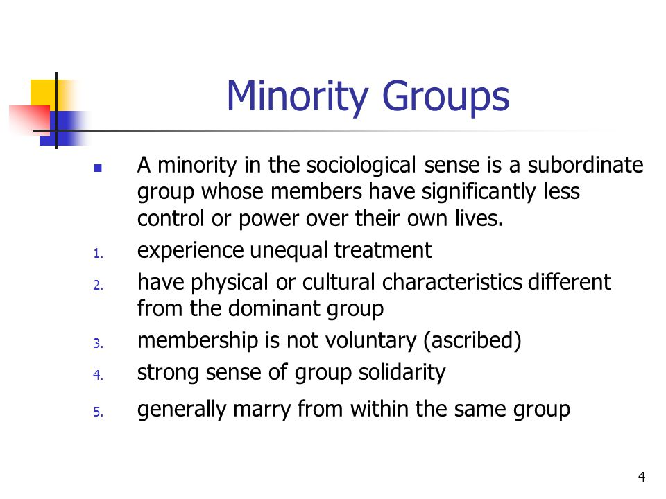 minority group essay The minority ever have an unjust intervention domestic assistant is an illustration of it the wage of them is acknowledging the urgency of the favoritism job against the minority group the authorities.