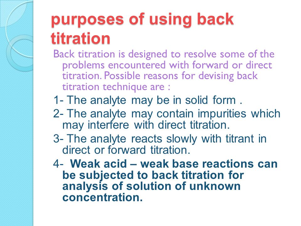 what is back titration