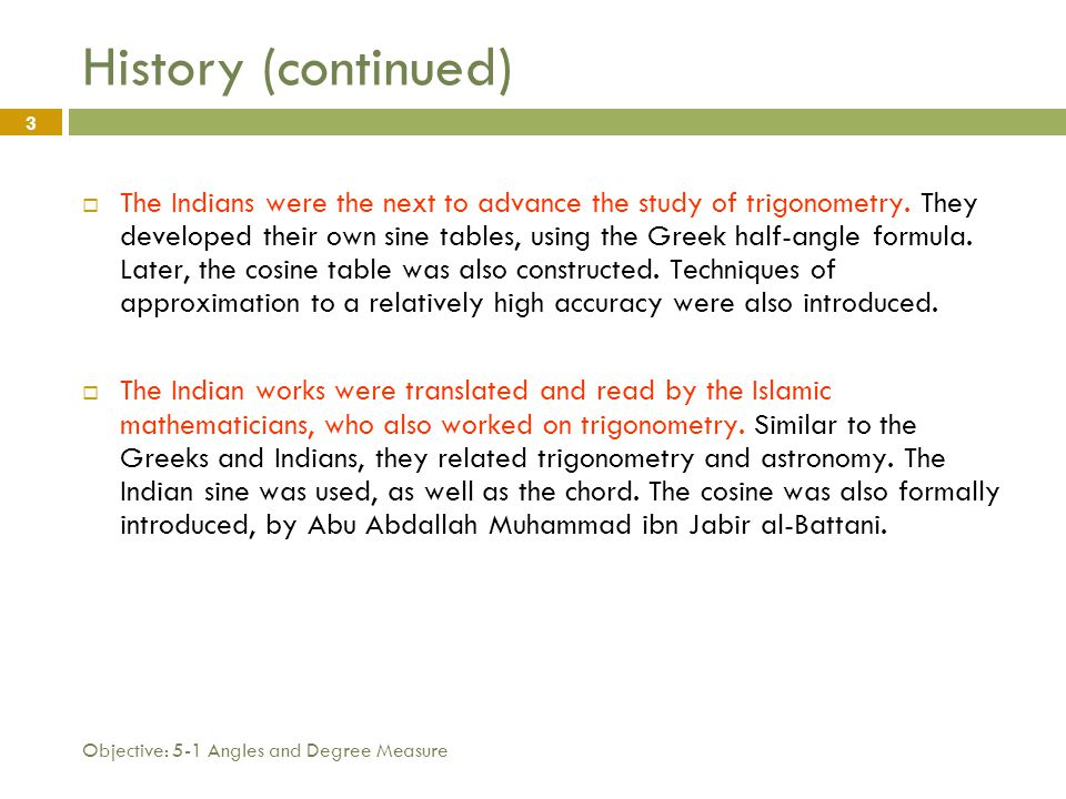 What you will learn A short history of Trigonometry - ppt