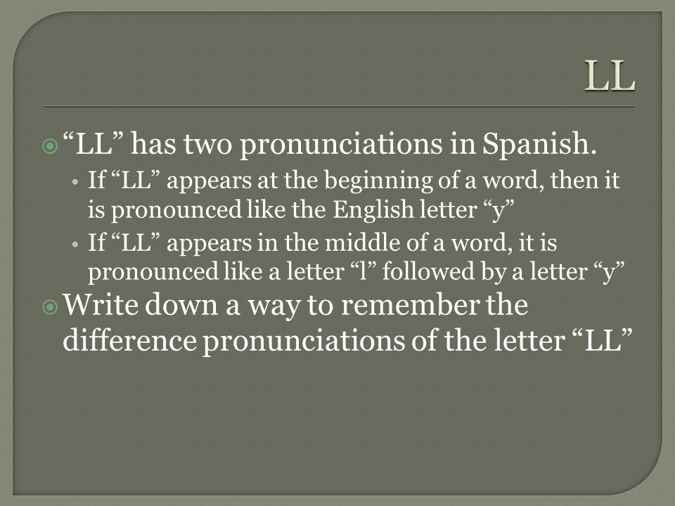 Spanish letter pronunciations ppt video online download ll ll has two pronunciations in spanish spiritdancerdesigns Gallery