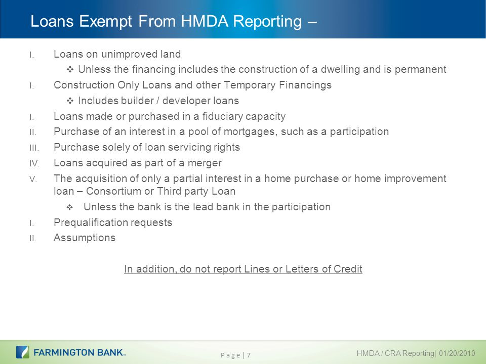 Loans Exempt From Hmda Reporting