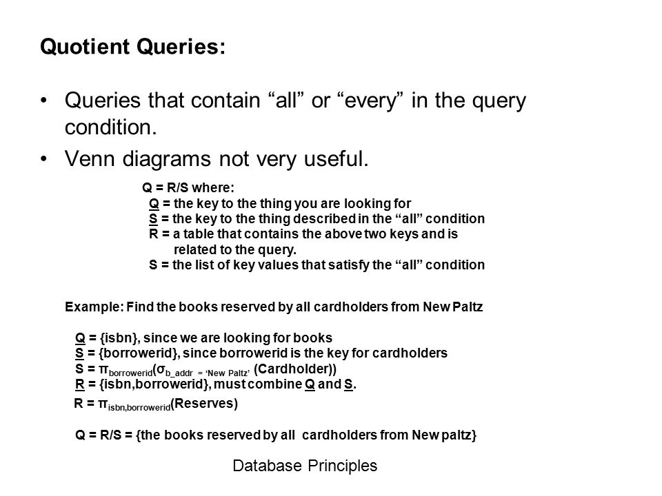 Venn Diagrams Database Principles Ppt Video Online Download