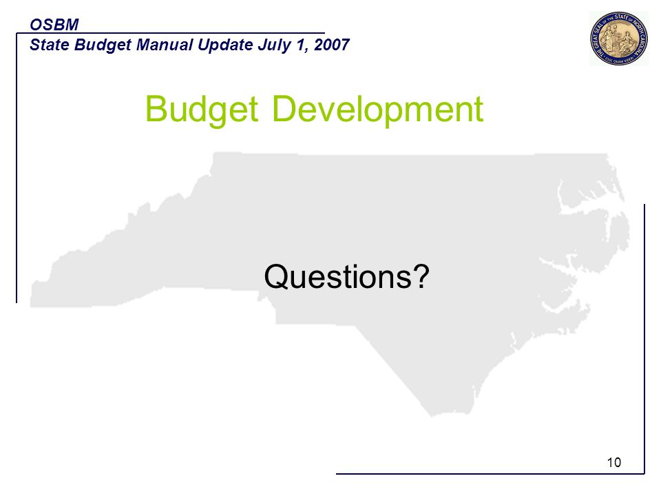 Budget Development Questions OSBM