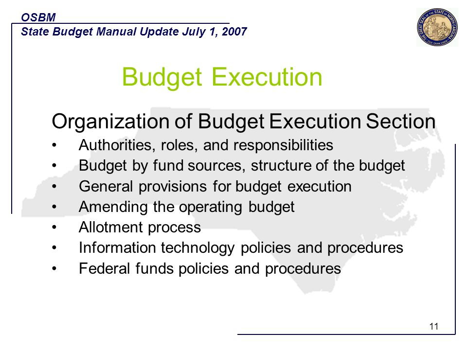 Budget Execution Organization of Budget Execution Section