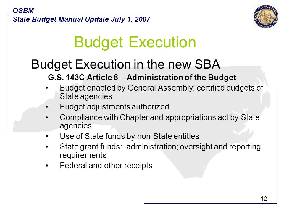 Budget Execution Budget Execution in the new SBA