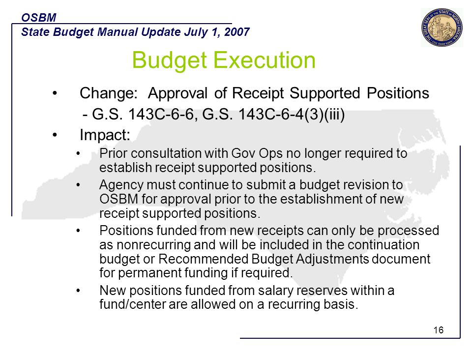 Budget Execution Change: Approval of Receipt Supported Positions