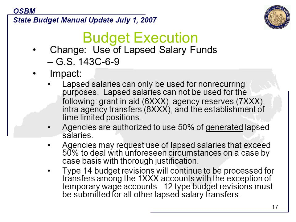 Budget Execution Change: Use of Lapsed Salary Funds – G.S. 143C-6-9