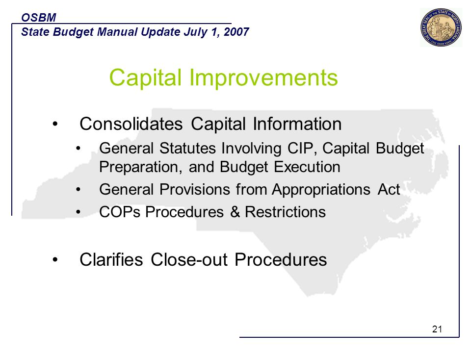 Capital Improvements Consolidates Capital Information