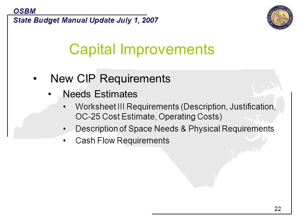 Capital Improvements New CIP Requirements Needs Estimates