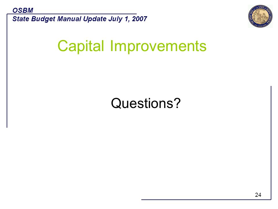 Capital Improvements Questions OSBM