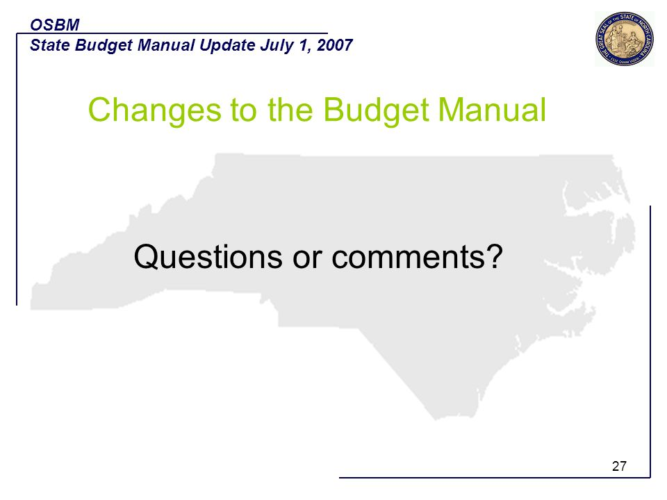 Changes to the Budget Manual
