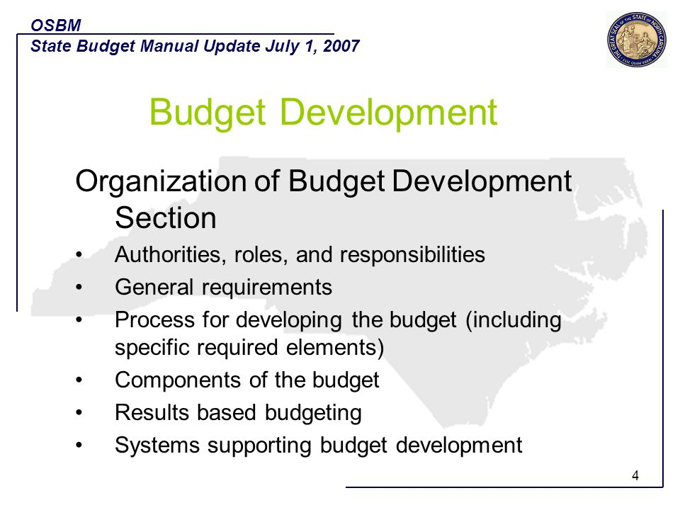 Budget Development Organization of Budget Development Section