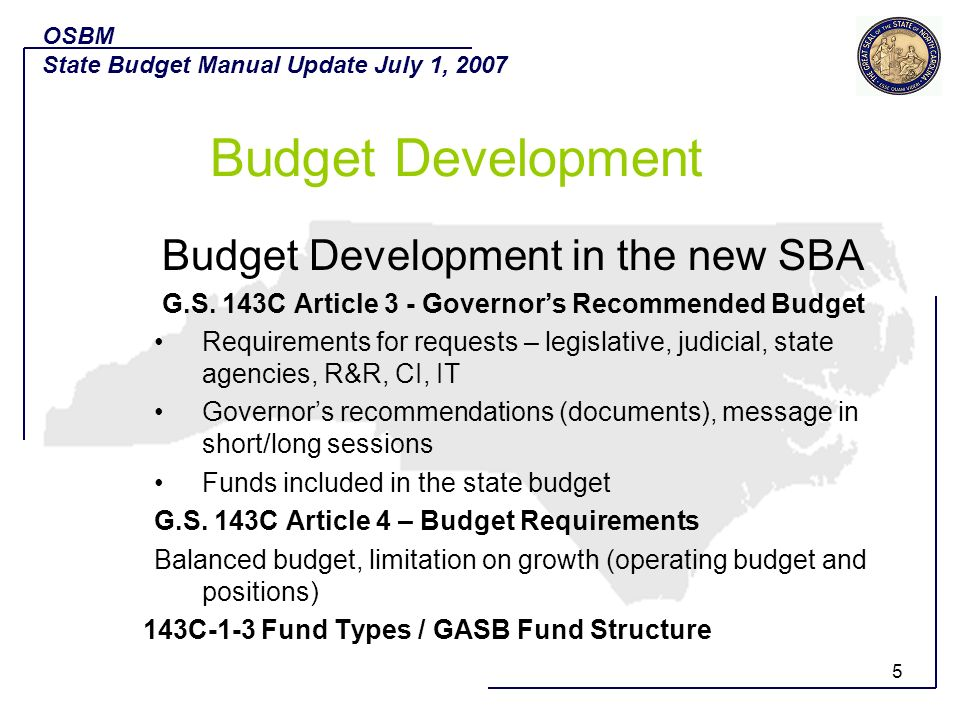 Budget Development Budget Development in the new SBA