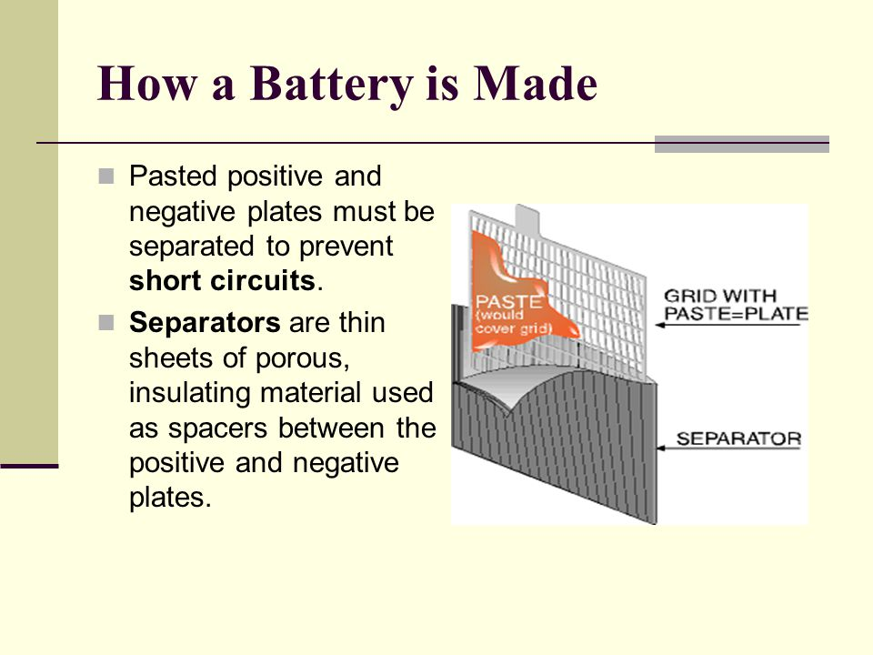 How a Battery is Made Pasted positive and negative plates must be separated to prevent short circuits.