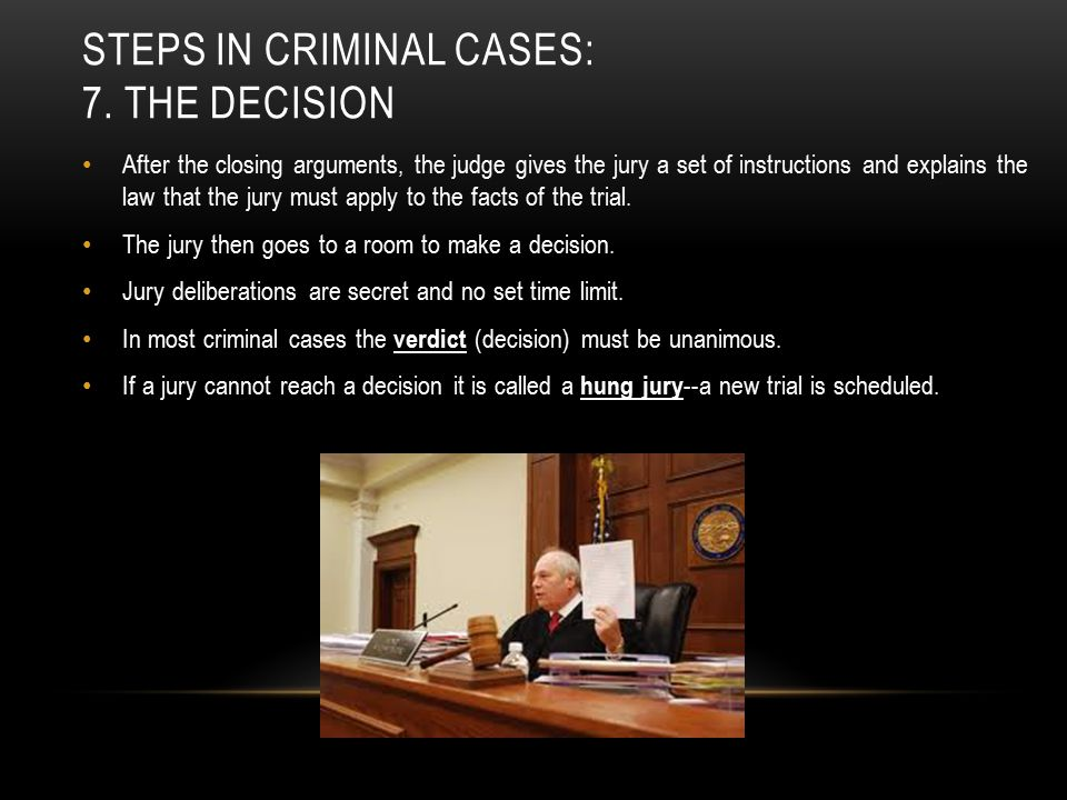 Steps in criminal cases: 7. the decision