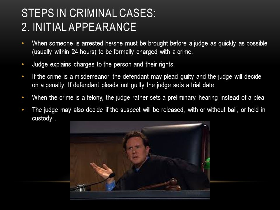 Steps in criminal cases: 2. Initial appearance