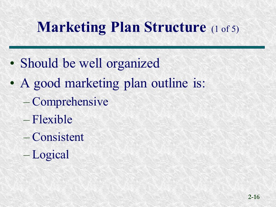Marketing Plan Structure (1 of 5)