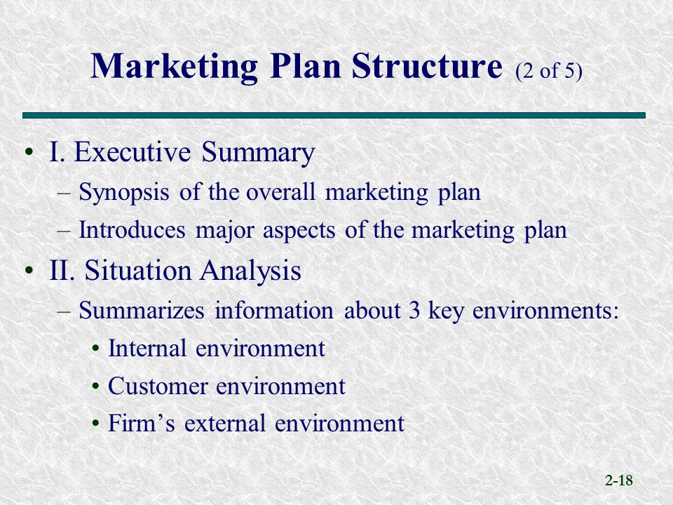Marketing Plan Structure (2 of 5)