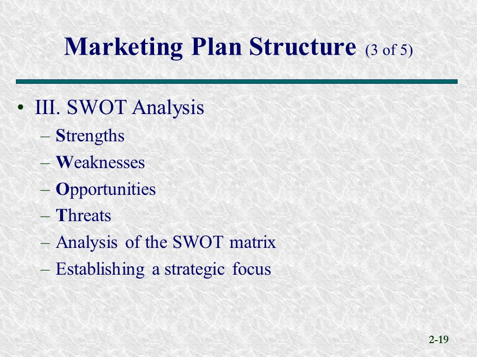 Marketing Plan Structure (3 of 5)