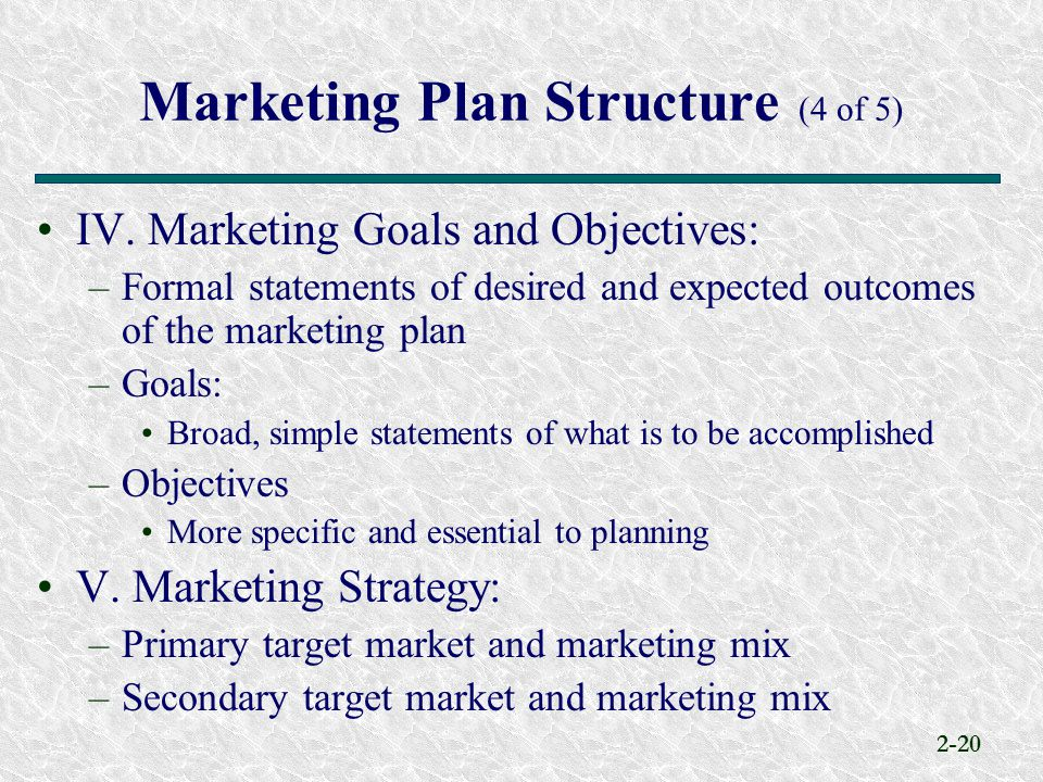 Marketing Plan Structure (4 of 5)