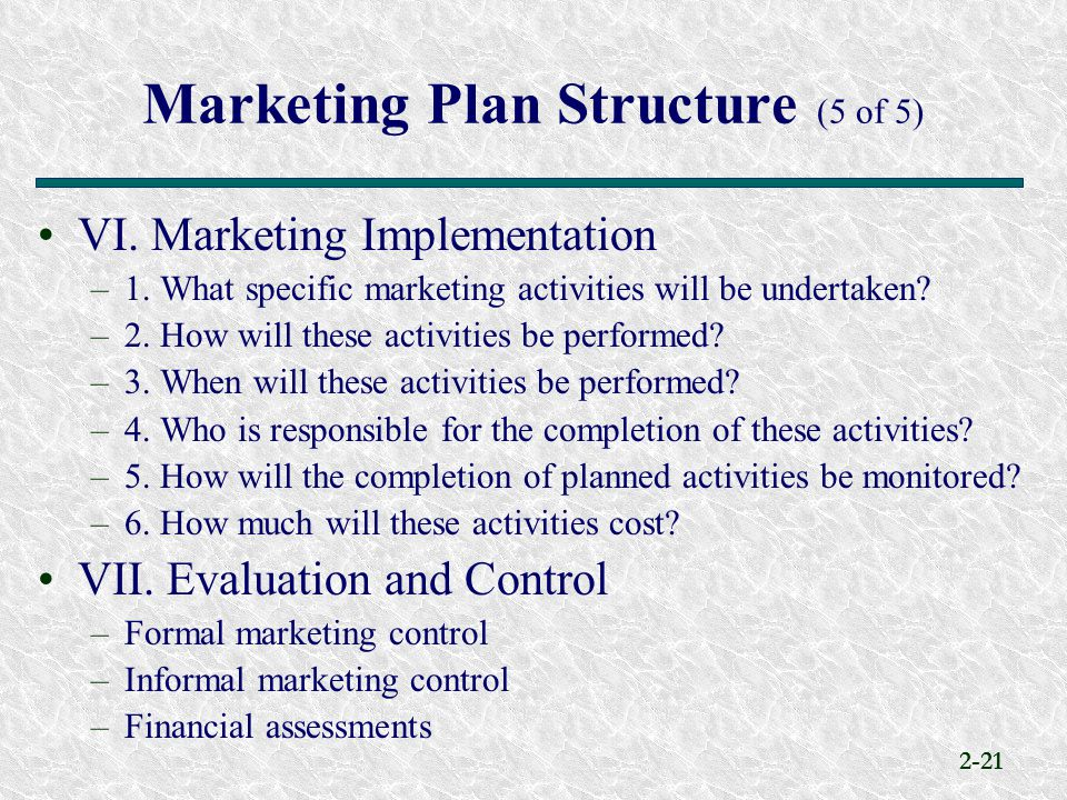 Marketing Plan Structure (5 of 5)