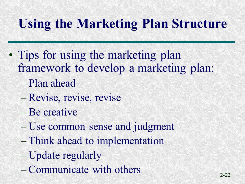 Using the Marketing Plan Structure