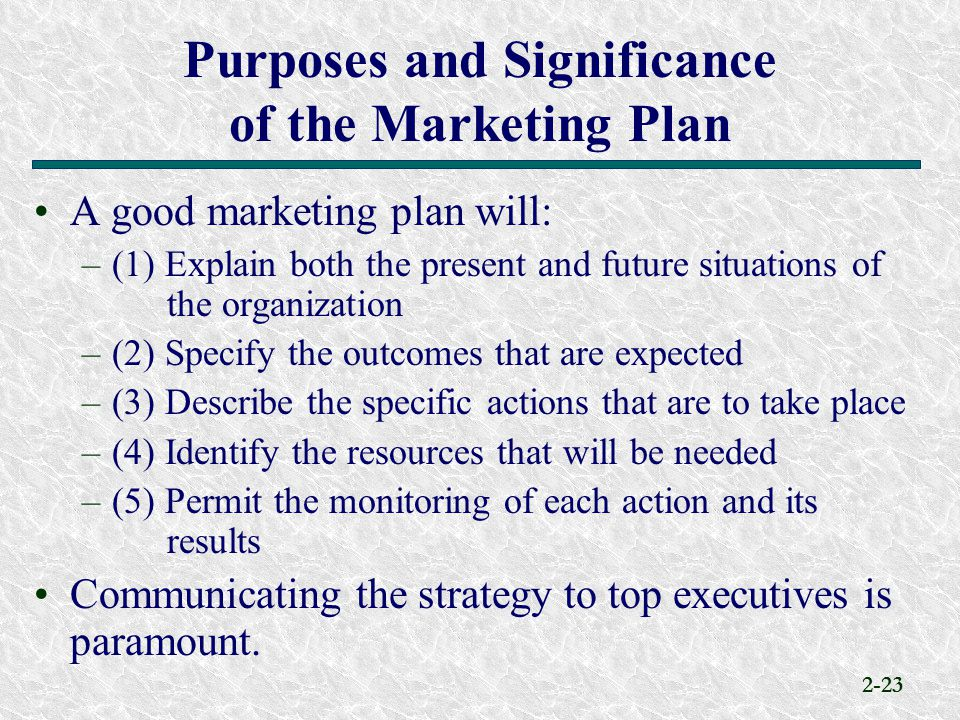 Purposes and Significance of the Marketing Plan