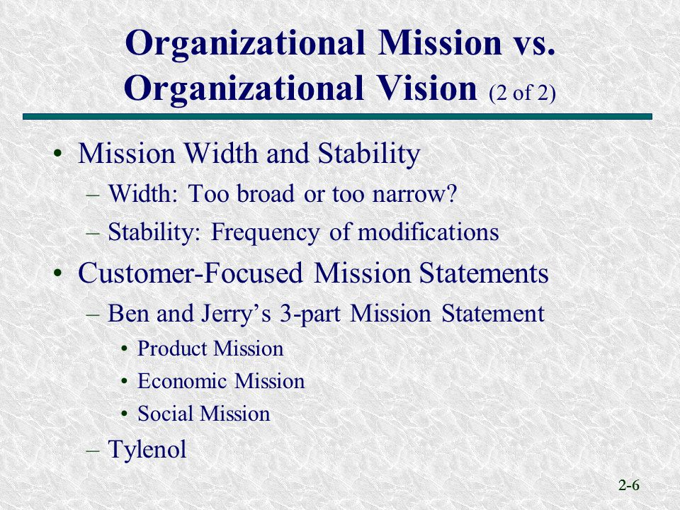 Organizational Mission vs. Organizational Vision (2 of 2)