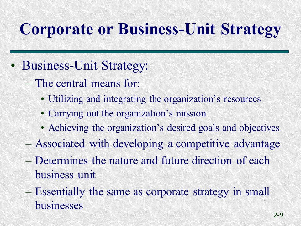 Corporate or Business-Unit Strategy