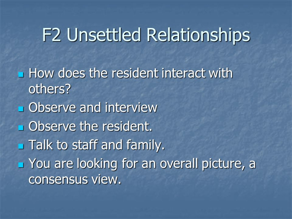 F2 Unsettled Relationships