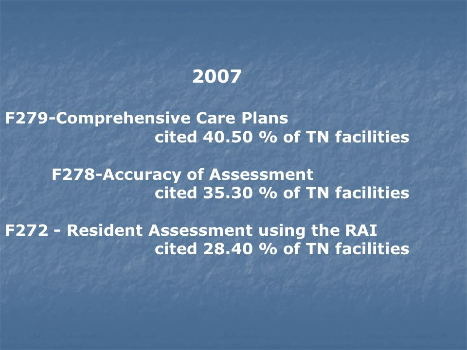2007 F279-Comprehensive Care Plans cited 40.50 % of TN facilities