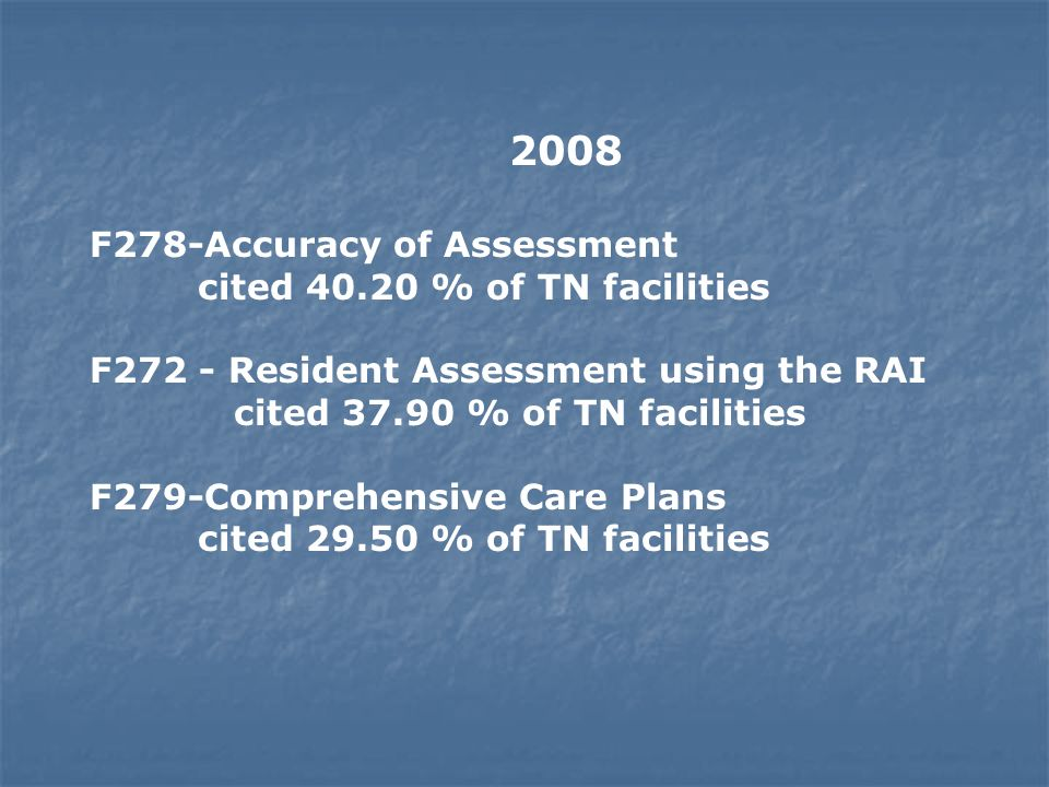 2008 F278-Accuracy of Assessment cited 40.20 % of TN facilities