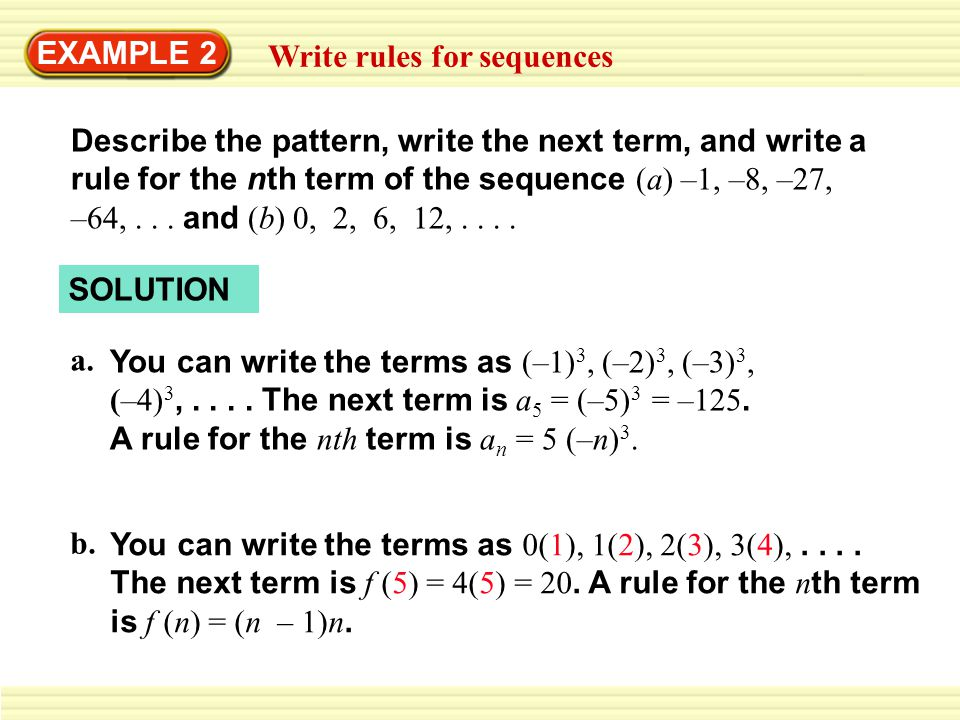 Example 2 Write Rules For Sequences Ppt Download