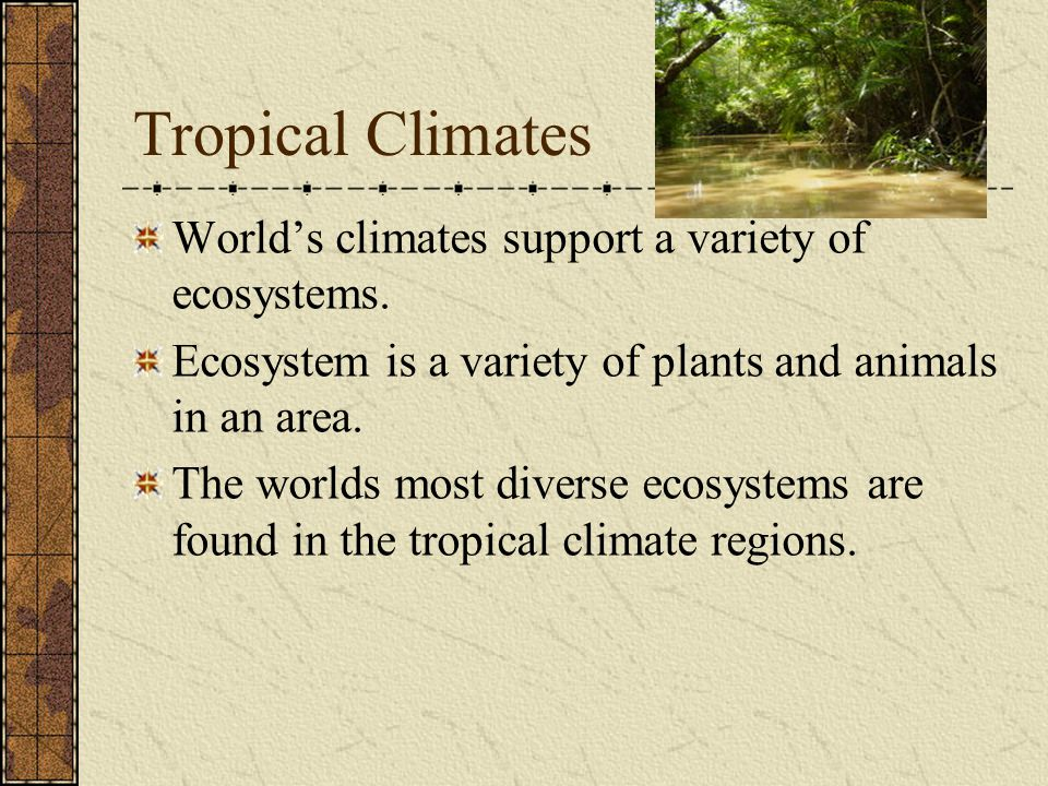 Tropical Climates World's climates support a variety of ecosystems.
