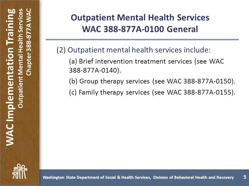 Washington State Behavioral Health Services Rules Implementation