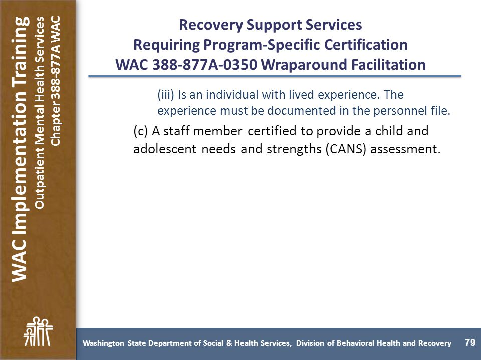 Washington State Behavioral Health Services Rules Implementation ...