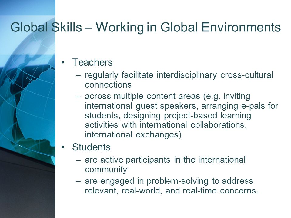 Global Skills – Working in Global Environments