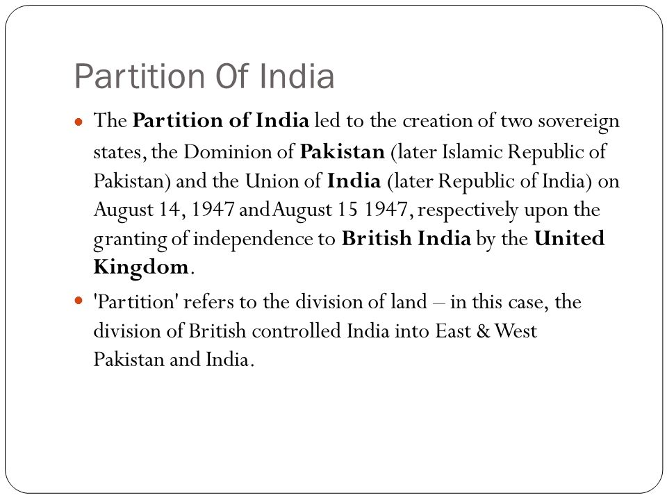 Partition of India  - ppt video online download
