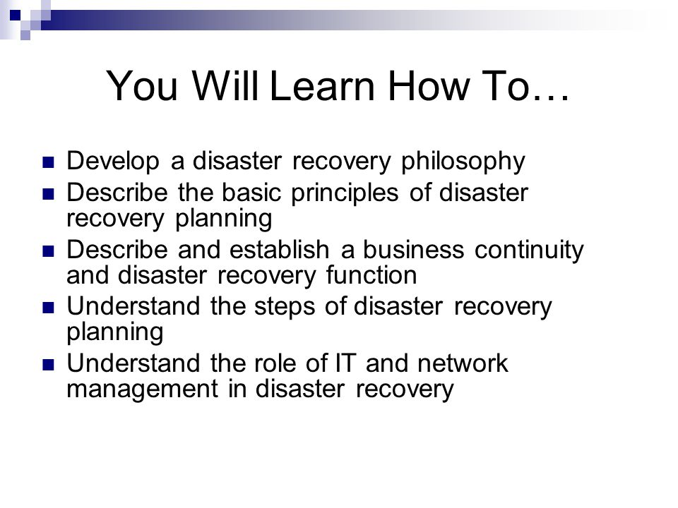 network disaster recovery planning