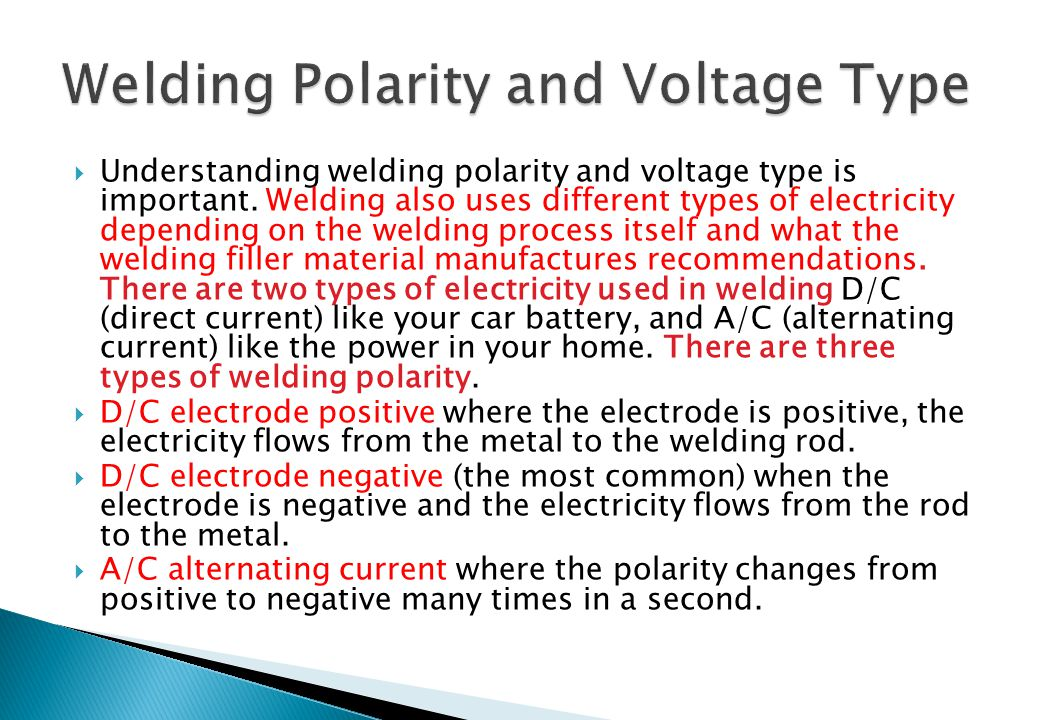 Welding Polarity and Voltage Type