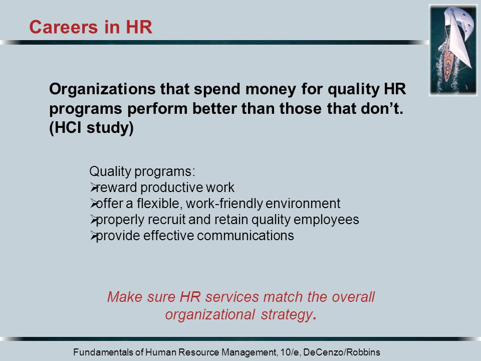Careers in HR Organizations that spend money for quality HR programs perform better than those that don't.