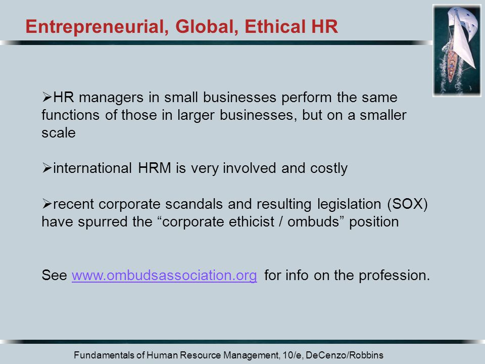 Entrepreneurial, Global, Ethical HR