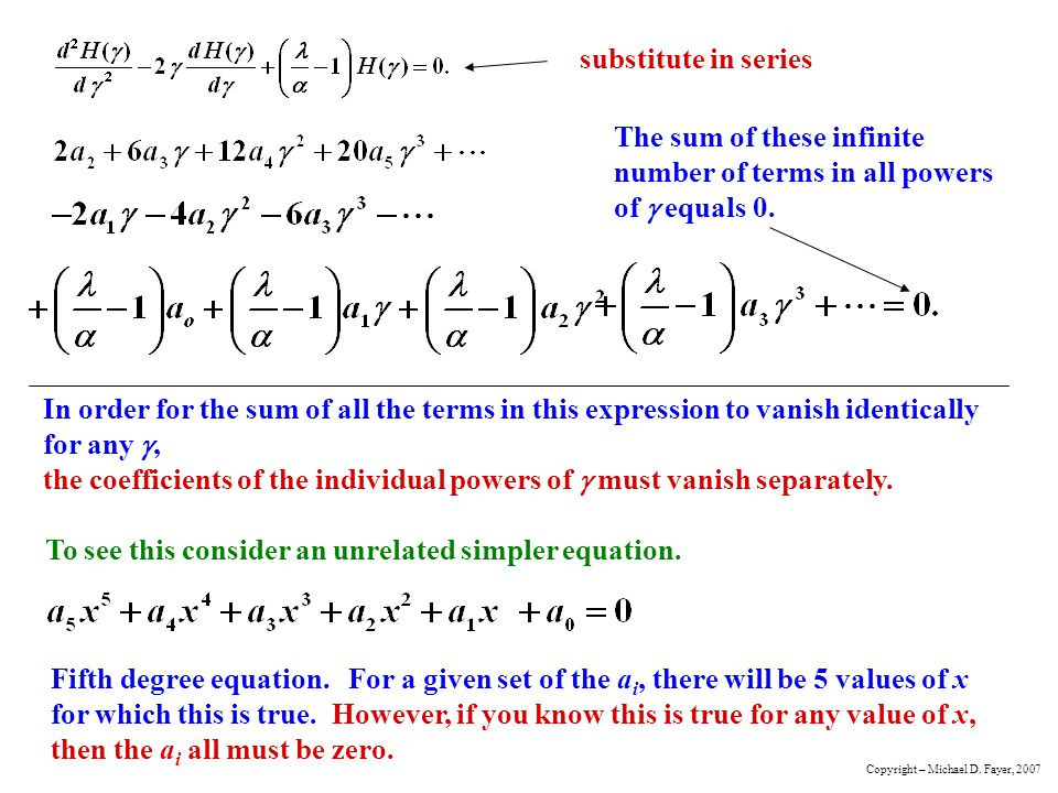 The sum of these infinite number of terms in all powers of g equals 0.