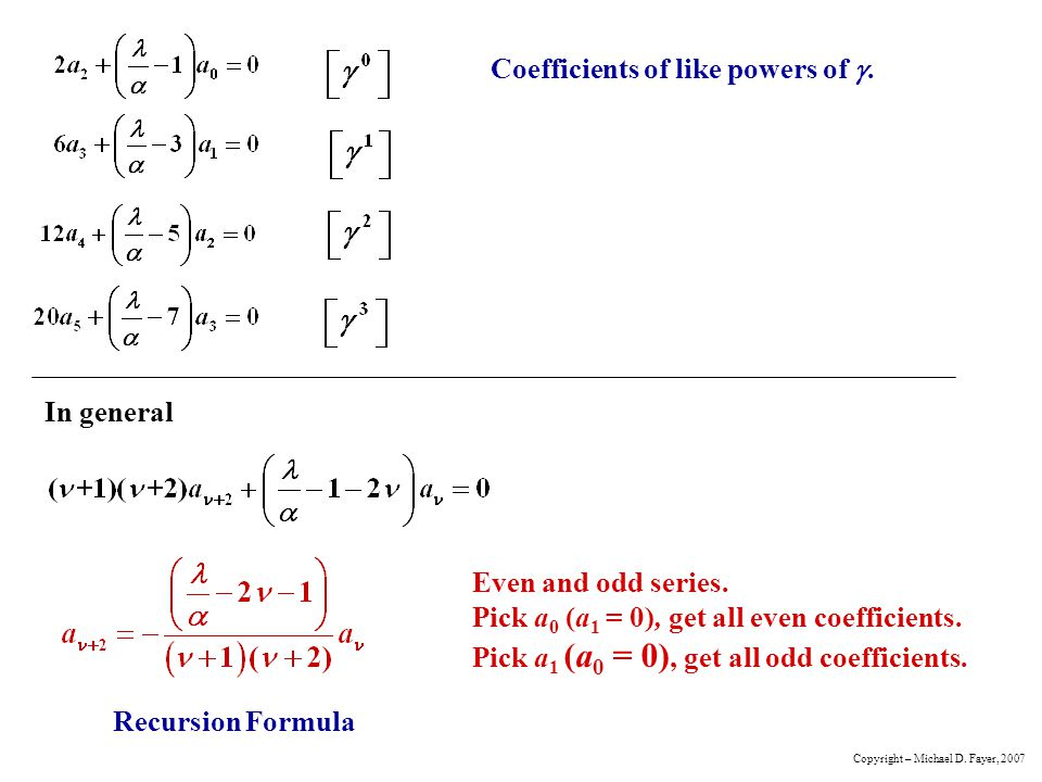 Coefficients of like powers of g.
