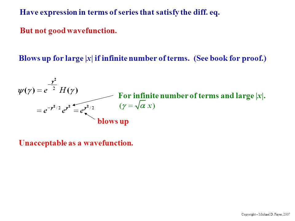 Have expression in terms of series that satisfy the diff. eq.